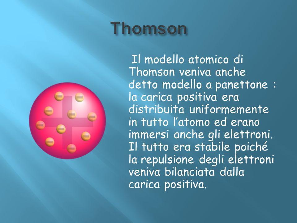 Il modello atomico di Thomson veniva anche detto modello a panettone : la carica positiva era distribuita uniformemente in tutto latomo ed erano immer