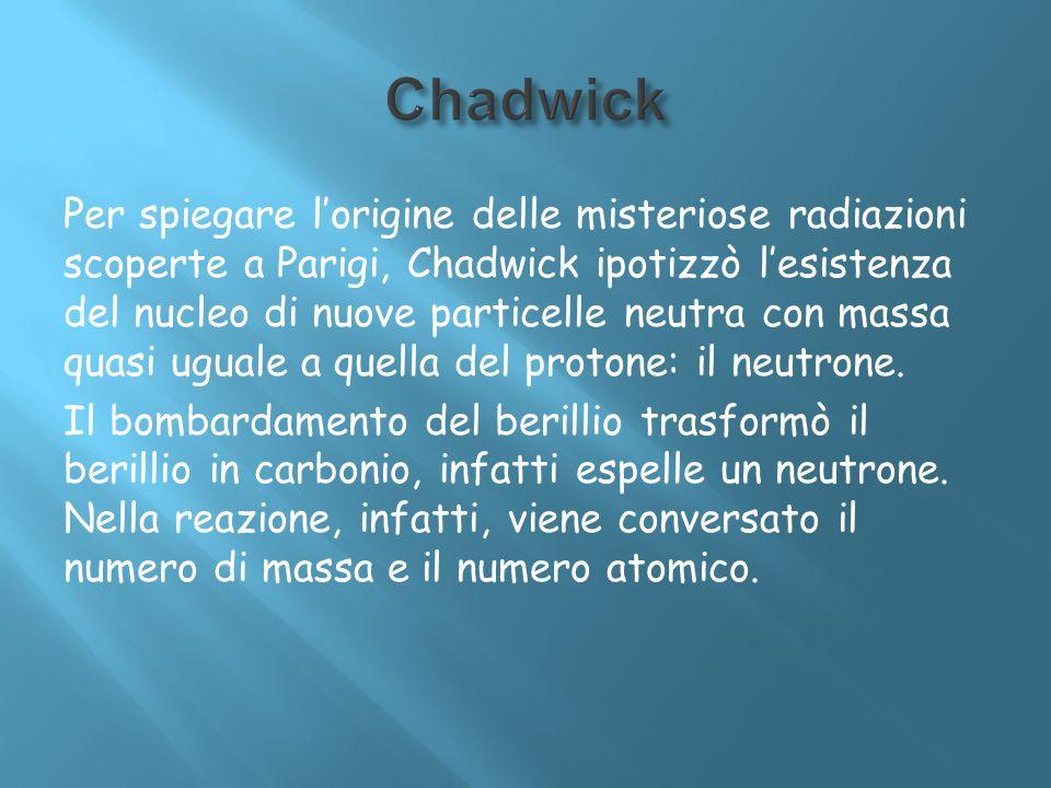 Per spiegare lorigine delle misteriose radiazioni scoperte a Parigi, Chadwick ipotizzò lesistenza del nucleo di nuove particelle neutra con massa quas