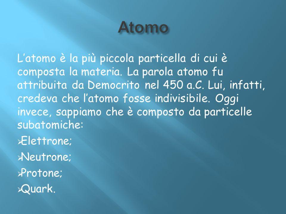 Latomo è la più piccola particella di cui è composta la materia. La parola atomo fu attribuita da Democrito nel 450 a.C. Lui, infatti, credeva che lat