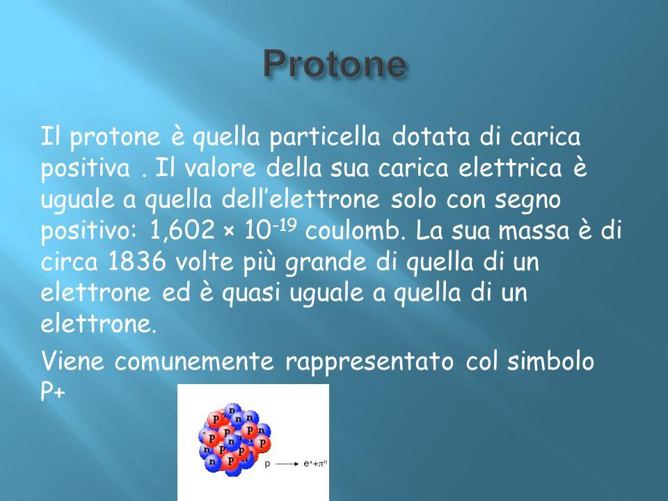 Il protone è quella particella dotata di carica positiva. Il valore della sua carica elettrica è uguale a quella dellelettrone solo con segno positivo