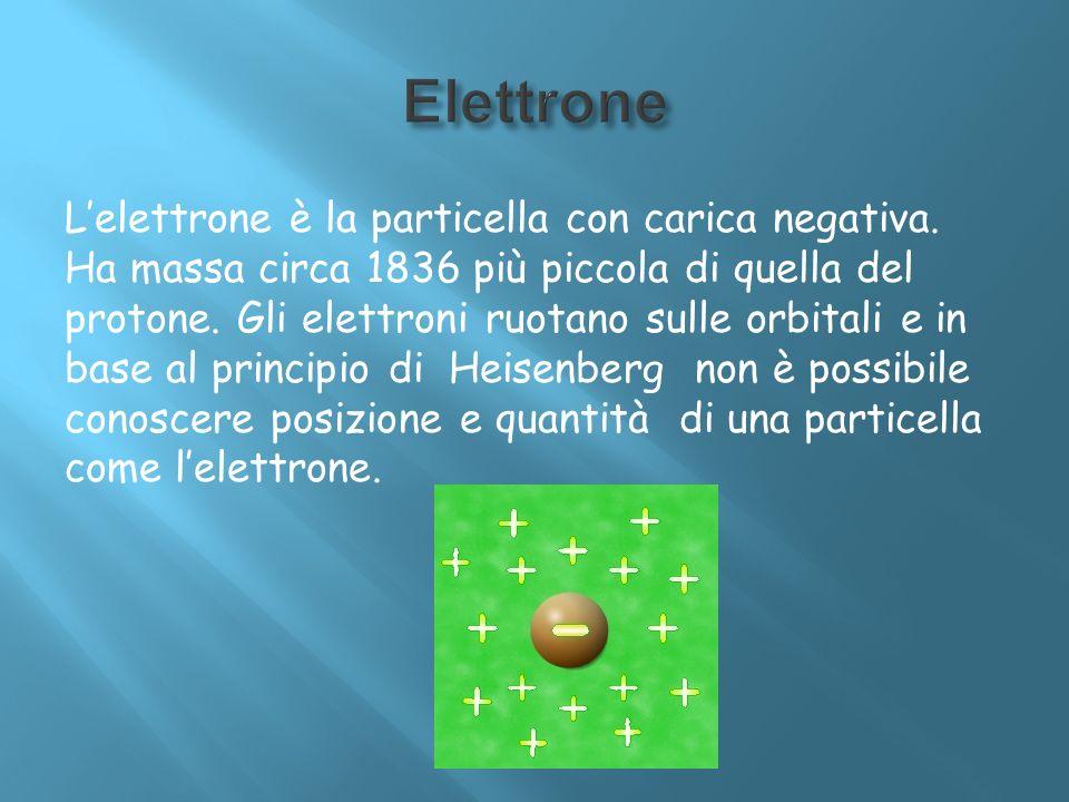 Lelettrone è la particella con carica negativa. Ha massa circa 1836 più piccola di quella del protone. Gli elettroni ruotano sulle orbitali e in base
