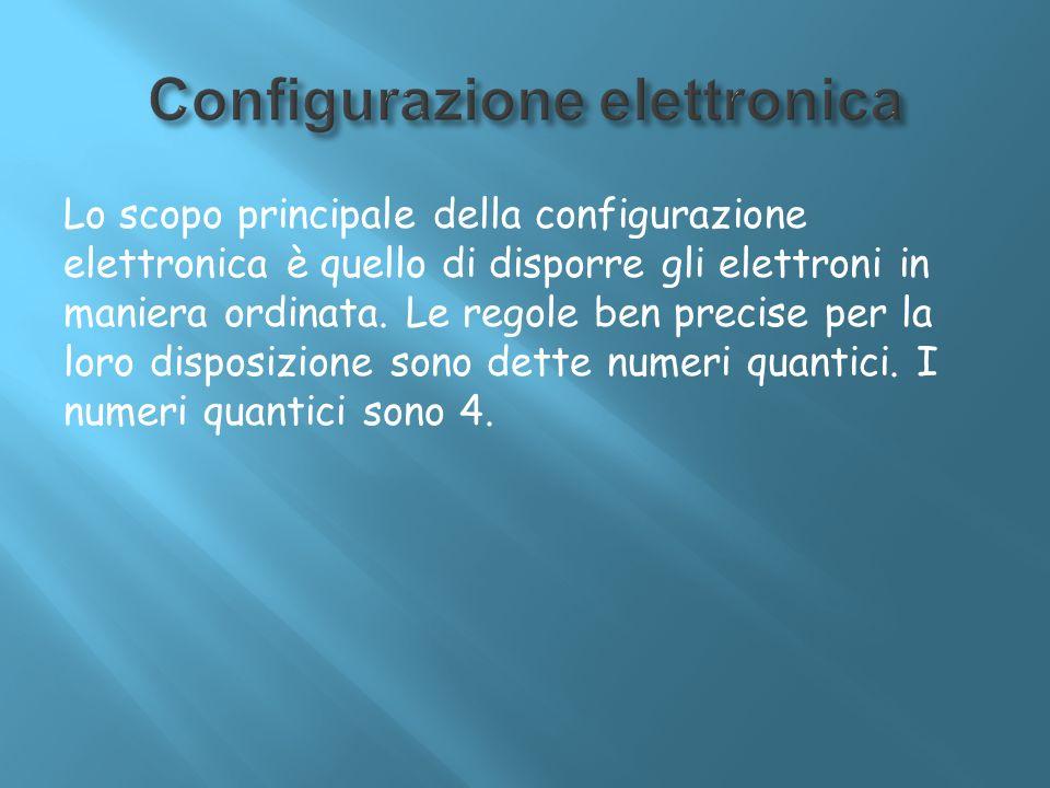 Lo scopo principale della configurazione elettronica è quello di disporre gli elettroni in maniera ordinata. Le regole ben precise per la loro disposi