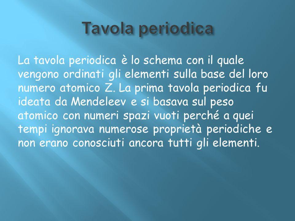 La tavola periodica è lo schema con il quale vengono ordinati gli elementi sulla base del loro numero atomico Z. La prima tavola periodica fu ideata d