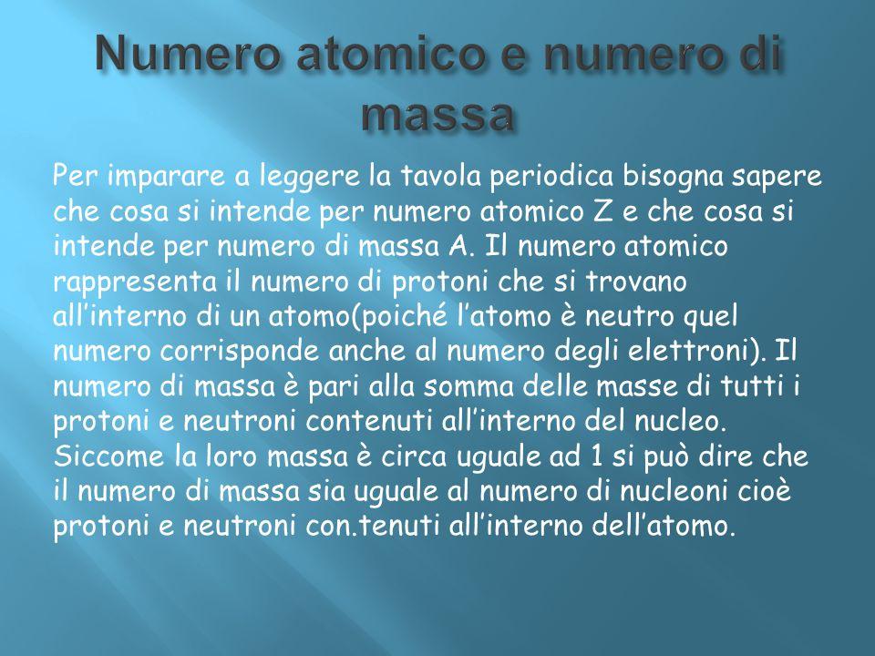 Per imparare a leggere la tavola periodica bisogna sapere che cosa si intende per numero atomico Z e che cosa si intende per numero di massa A. Il num
