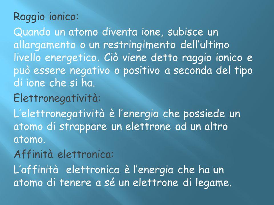 Raggio ionico: Quando un atomo diventa ione, subisce un allargamento o un restringimento dellultimo livello energetico. Ciò viene detto raggio ionico