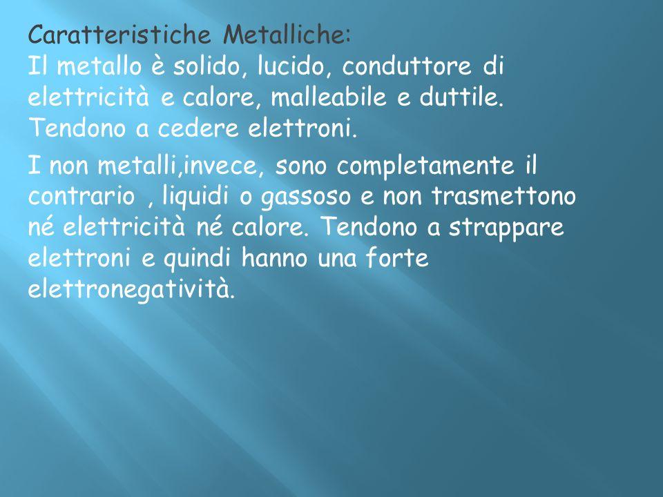 Caratteristiche Metalliche: Il metallo è solido, lucido, conduttore di elettricità e calore, malleabile e duttile. Tendono a cedere elettroni. I non m