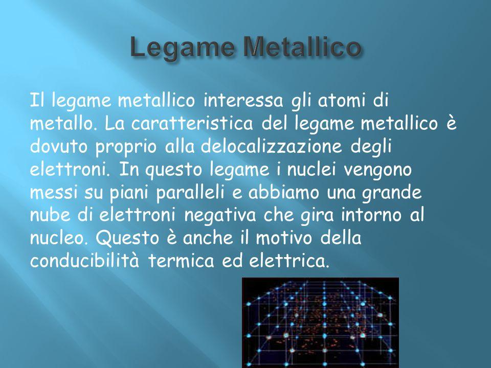 Il legame metallico interessa gli atomi di metallo. La caratteristica del legame metallico è dovuto proprio alla delocalizzazione degli elettroni. In