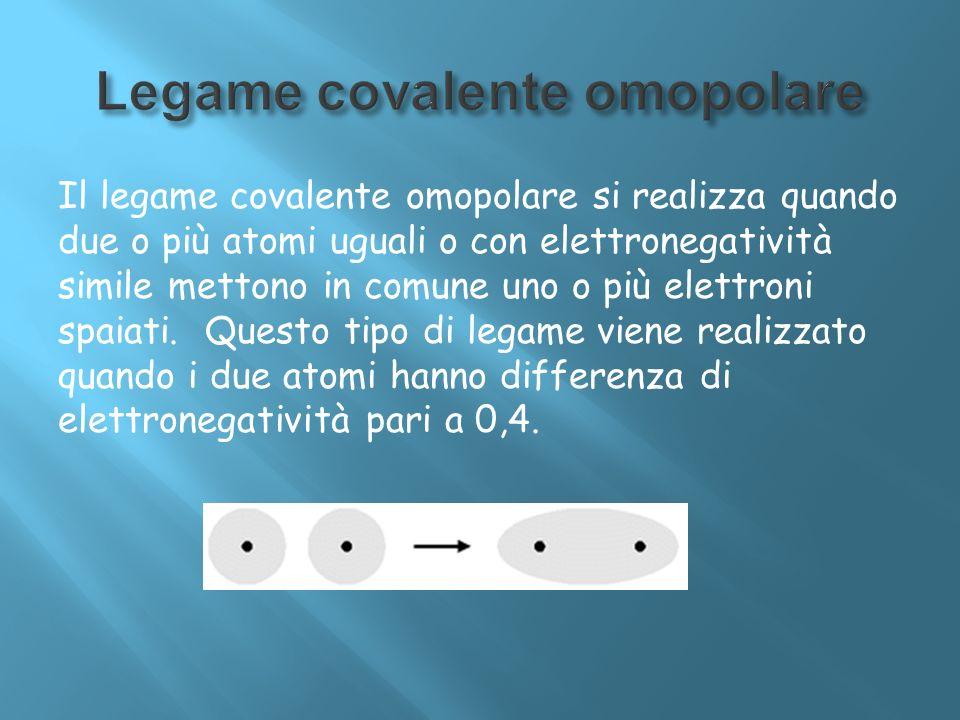 Il legame covalente omopolare si realizza quando due o più atomi uguali o con elettronegatività simile mettono in comune uno o più elettroni spaiati.