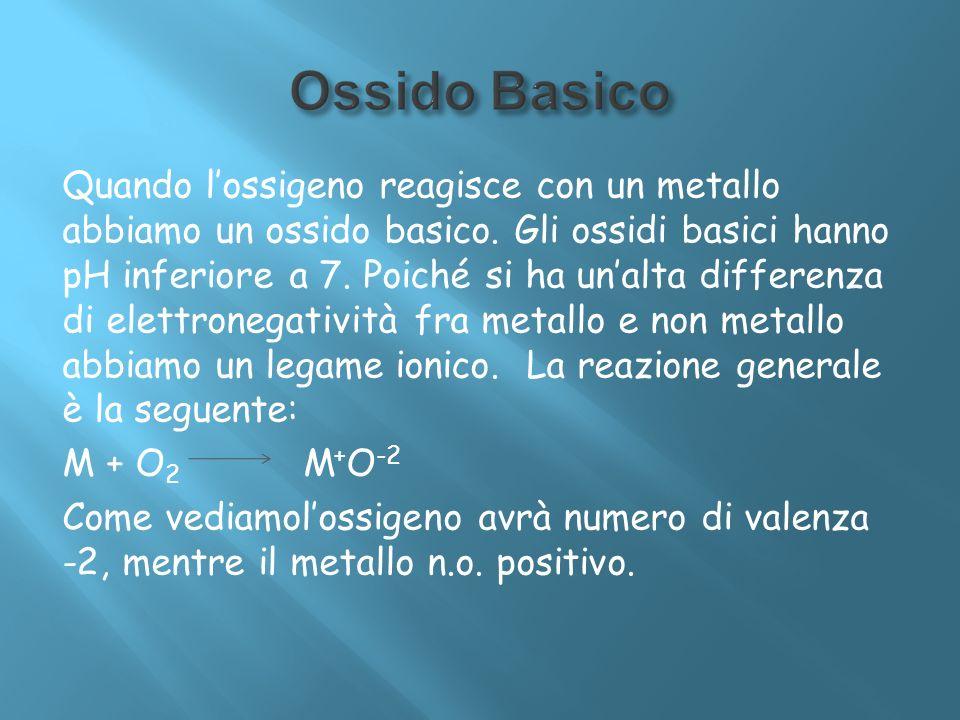 Quando lossigeno reagisce con un metallo abbiamo un ossido basico. Gli ossidi basici hanno pH inferiore a 7. Poiché si ha unalta differenza di elettro