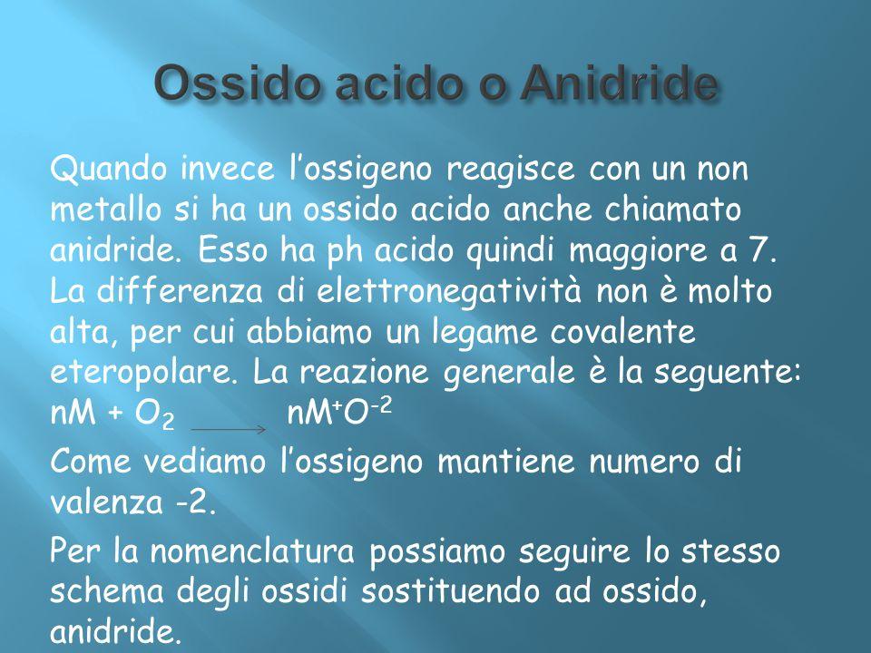 Quando invece lossigeno reagisce con un non metallo si ha un ossido acido anche chiamato anidride. Esso ha ph acido quindi maggiore a 7. La differenza