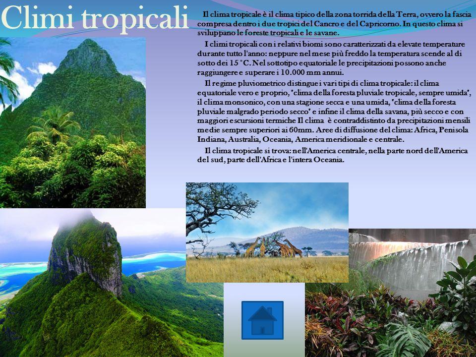 Tipi di clima Climi tropicaliClimi aridiClimi temperati Climi borealiClimi nivali