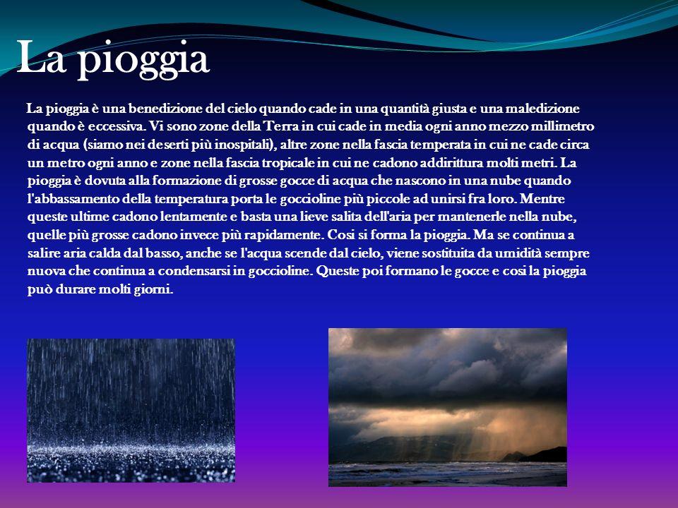 Le idrometeore Per definizione, rientrano nella categoria tutti i tipi di precipitazione atmosferica, come ad esempio la pioggia, la grandine e la nev