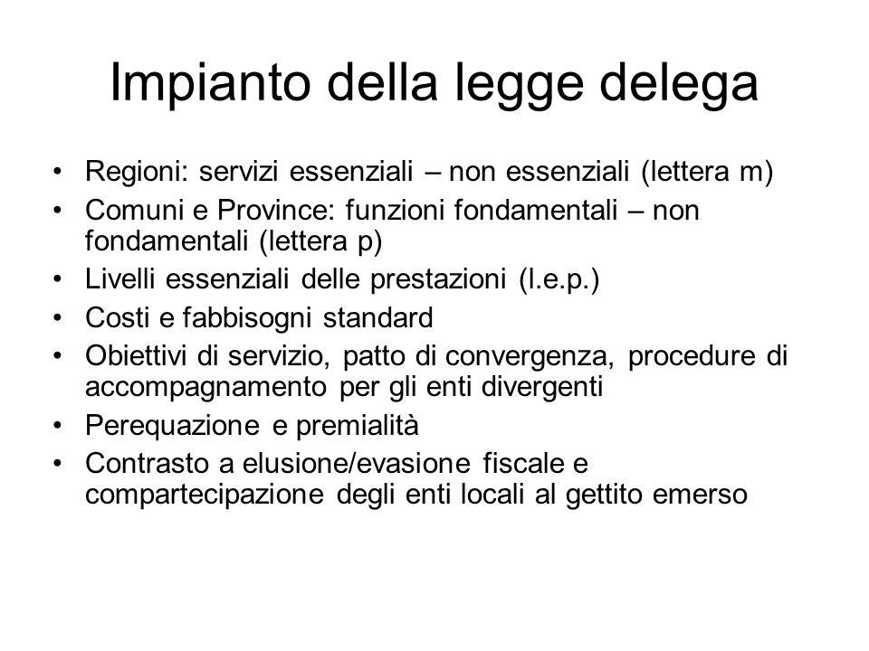 Impianto della legge delega Regioni: servizi essenziali – non essenziali (lettera m) Comuni e Province: funzioni fondamentali – non fondamentali (lett