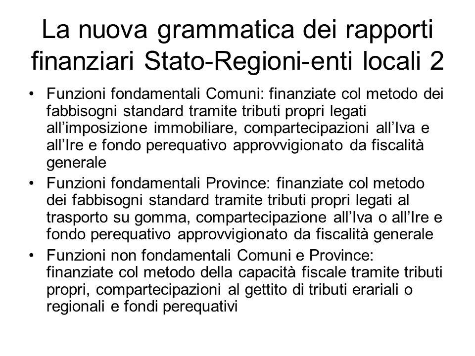 La nuova grammatica dei rapporti finanziari Stato-Regioni-enti locali 2 Funzioni fondamentali Comuni: finanziate col metodo dei fabbisogni standard tr