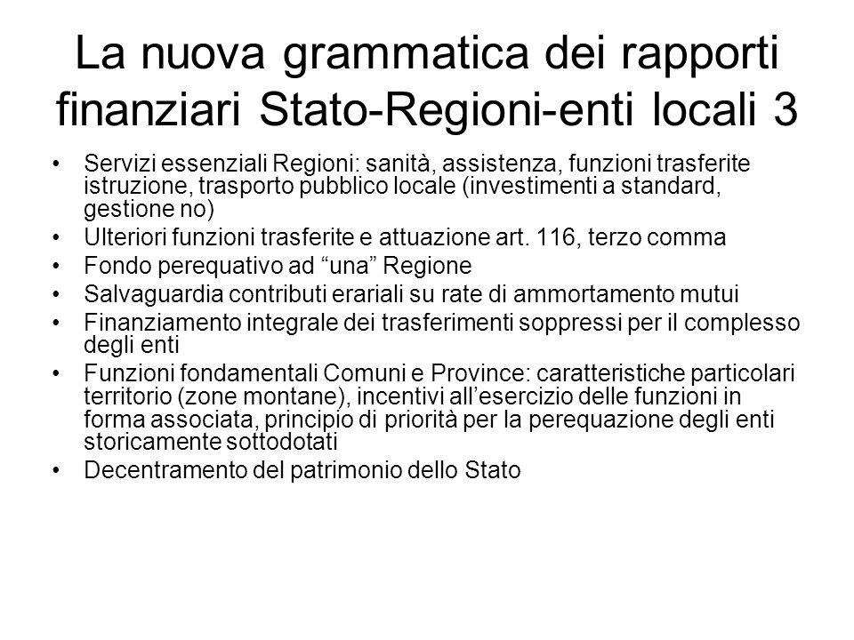 La nuova grammatica dei rapporti finanziari Stato-Regioni-enti locali 3 Servizi essenziali Regioni: sanità, assistenza, funzioni trasferite istruzione