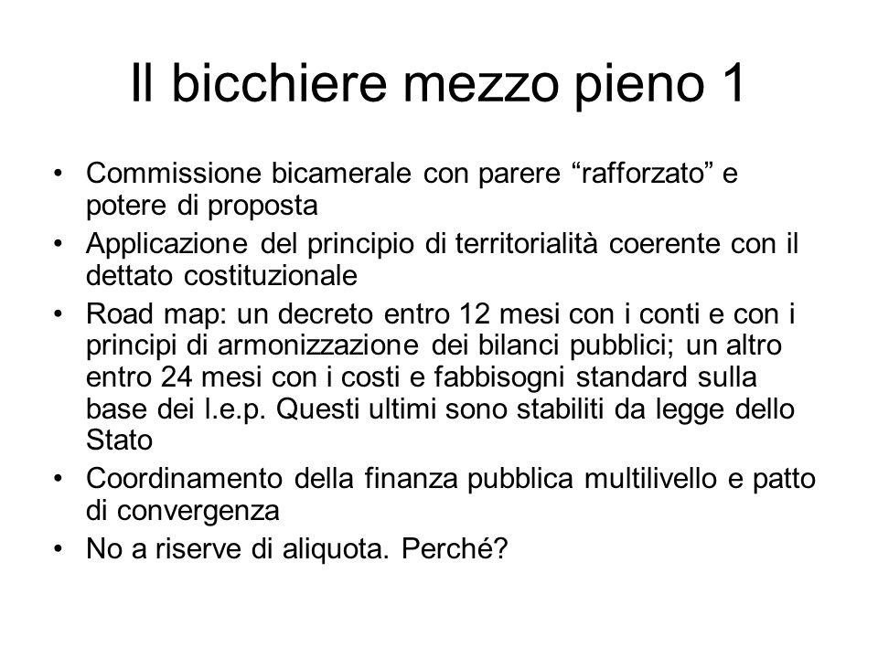 Il bicchiere mezzo pieno 1 Commissione bicamerale con parere rafforzato e potere di proposta Applicazione del principio di territorialità coerente con