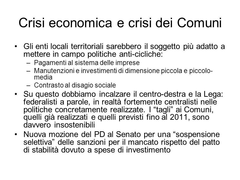 Crisi economica e crisi dei Comuni Gli enti locali territoriali sarebbero il soggetto più adatto a mettere in campo politiche anti-cicliche: –Pagament