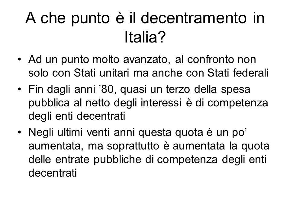 A che punto è il decentramento in Italia? Ad un punto molto avanzato, al confronto non solo con Stati unitari ma anche con Stati federali Fin dagli an