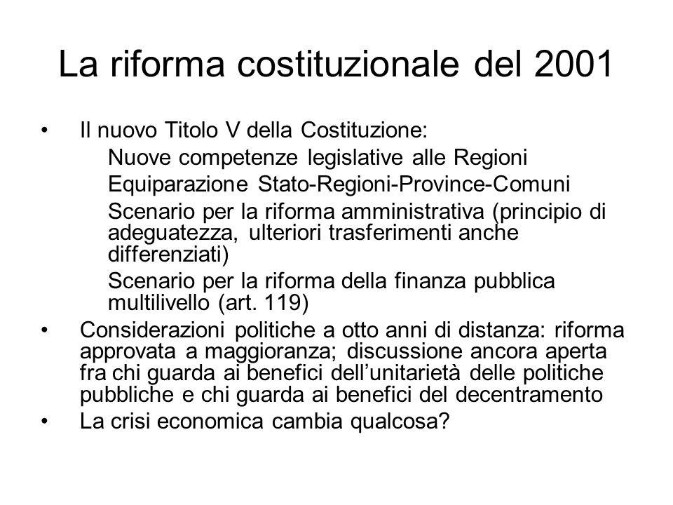 La riforma costituzionale del 2001 Il nuovo Titolo V della Costituzione: Nuove competenze legislative alle Regioni Equiparazione Stato-Regioni-Provinc
