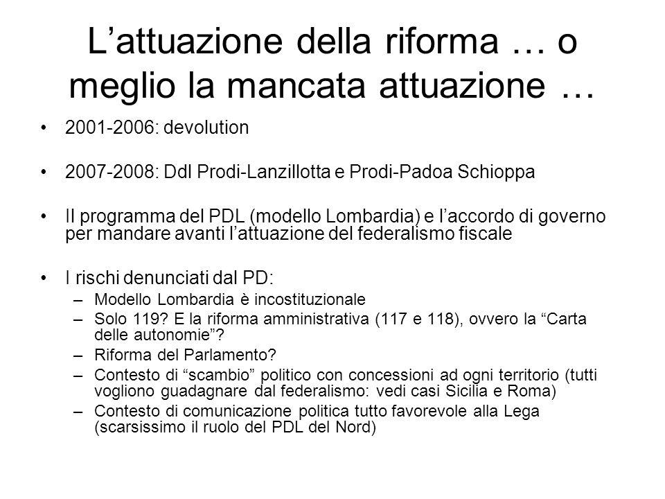 Lattuazione della riforma … o meglio la mancata attuazione … 2001-2006: devolution 2007-2008: Ddl Prodi-Lanzillotta e Prodi-Padoa Schioppa Il programm