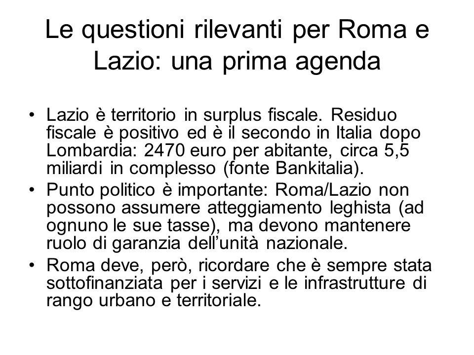 Le questioni rilevanti per Roma e Lazio: una prima agenda Lazio è territorio in surplus fiscale.