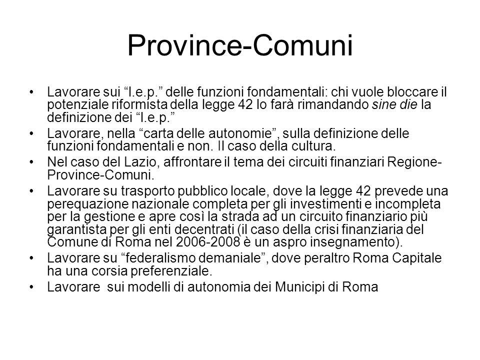 Province-Comuni Lavorare sui l.e.p.