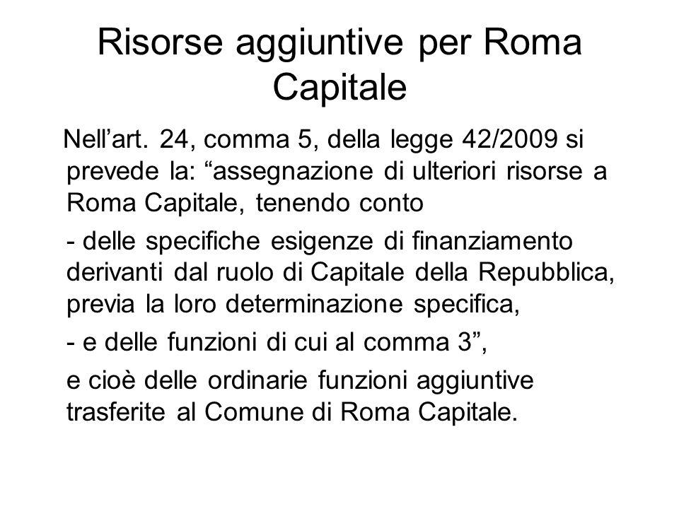 Risorse aggiuntive per Roma Capitale Nellart.