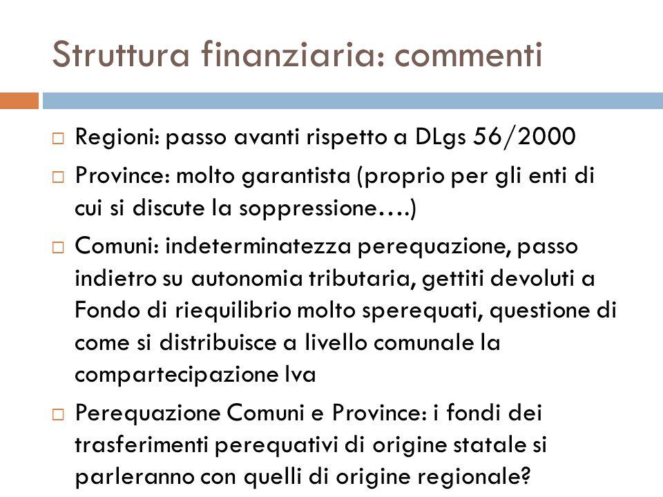 Struttura finanziaria: commenti Regioni: passo avanti rispetto a DLgs 56/2000 Province: molto garantista (proprio per gli enti di cui si discute la so