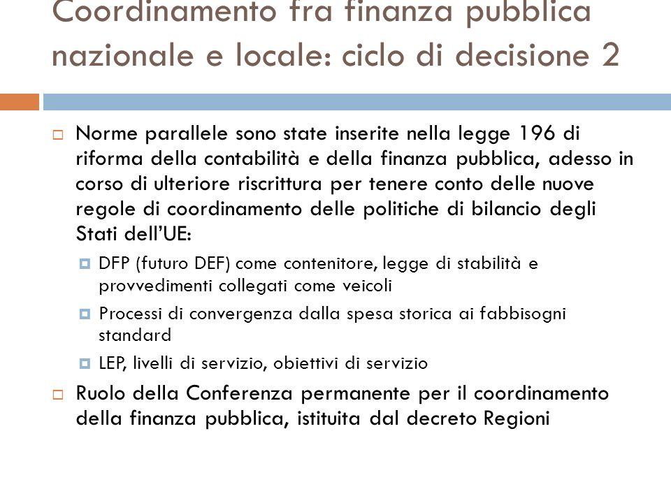Coordinamento fra finanza pubblica nazionale e locale: ciclo di decisione 2 Norme parallele sono state inserite nella legge 196 di riforma della conta