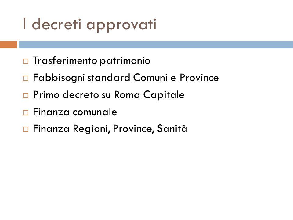 I decreti approvati Trasferimento patrimonio Fabbisogni standard Comuni e Province Primo decreto su Roma Capitale Finanza comunale Finanza Regioni, Pr