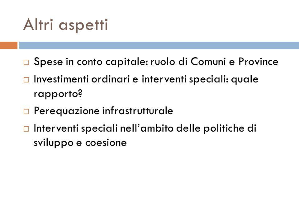 Altri aspetti Spese in conto capitale: ruolo di Comuni e Province Investimenti ordinari e interventi speciali: quale rapporto? Perequazione infrastrut