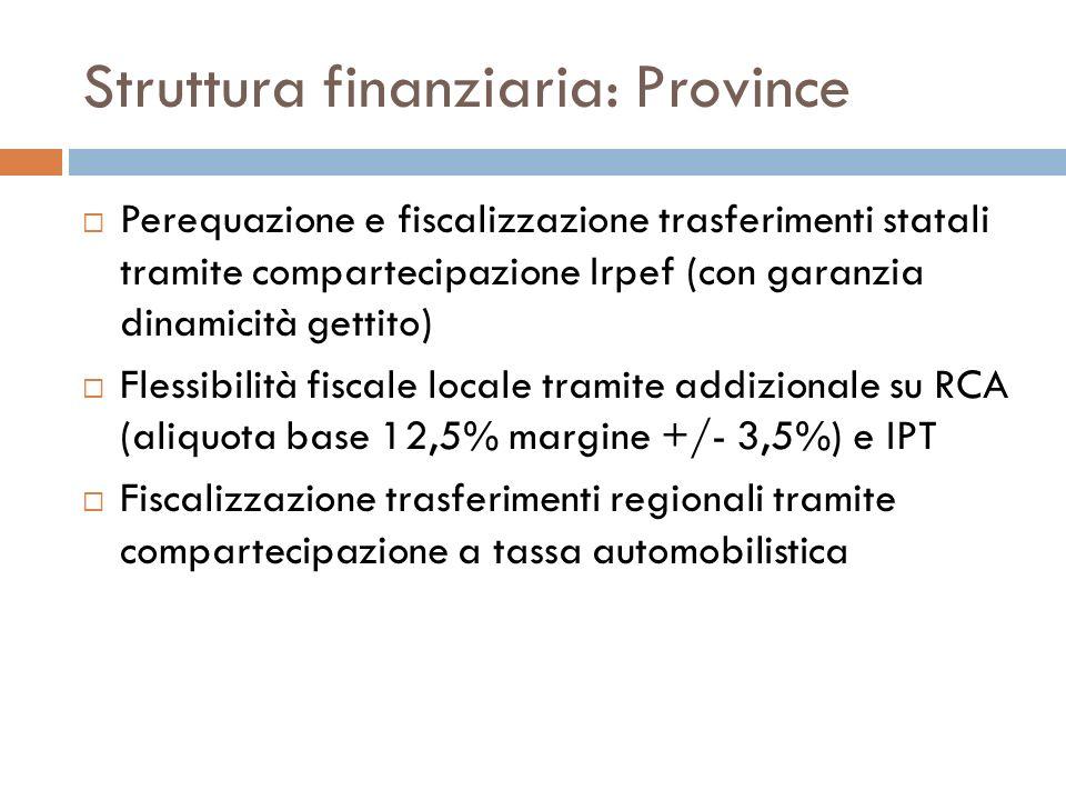 Struttura finanziaria: Comuni Perequazione non ancora definita (due fondi) Fiscalizzazione trasferimenti statali tramite Fondo di riequilibrio provvisorio approvvigionato da imposte erariali il cui gettito è devoluto in tutto o in parte (registro e ipo-catastali, Irpef su redditi immobiliari), con garanzia dinamicità gettito Inoltre, compartecipazione Iva commisurata a 2% compartecipazione Irpef flessibilità fiscale locale tramite IMU (aliquota base 7,6 per mille margine +/- 3 per mille), addizionale Irpef (sbloccata sotto 0,4%), imposta di scopo, imposta di soggiorno fiscalizzazione trasferimenti regionali tramite compartecipazione ad addizionale regionale Irpef