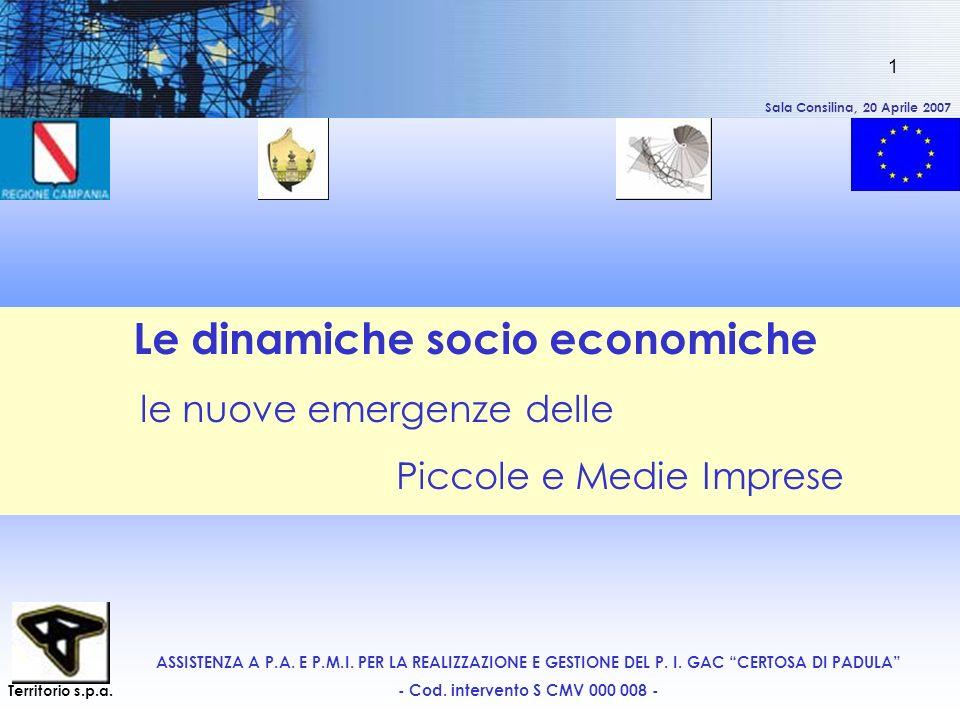 Sala Consilina, 20 Aprile 2007 1 Le dinamiche socio economiche le nuove emergenze delle Piccole e Medie Imprese ASSISTENZA A P.A. E P.M.I. PER LA REAL