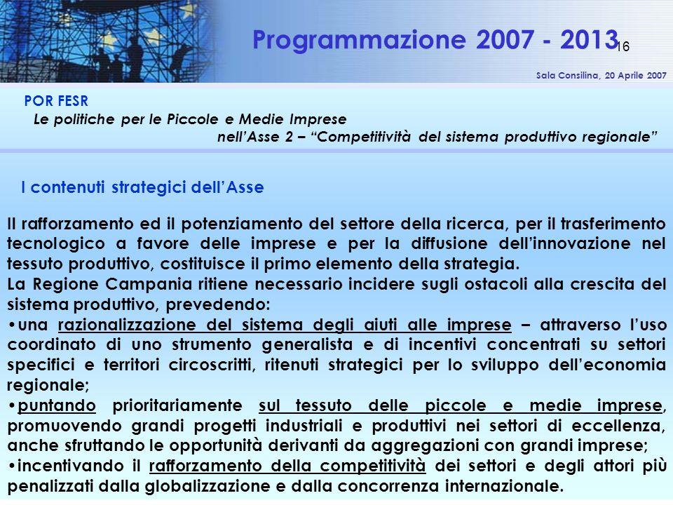 Sala Consilina, 20 Aprile 2007 16 POR FESR Le politiche per le Piccole e Medie Imprese nellAsse 2 – Competitività del sistema produttivo regionale Pro