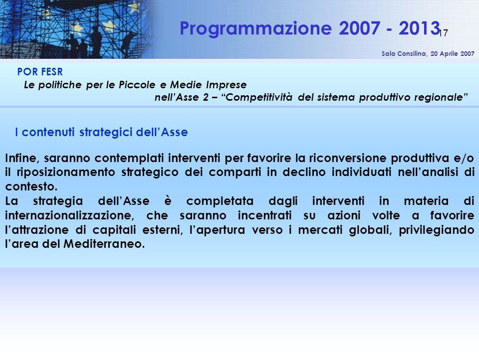 Sala Consilina, 20 Aprile 2007 17 POR FESR Le politiche per le Piccole e Medie Imprese nellAsse 2 – Competitività del sistema produttivo regionale Pro