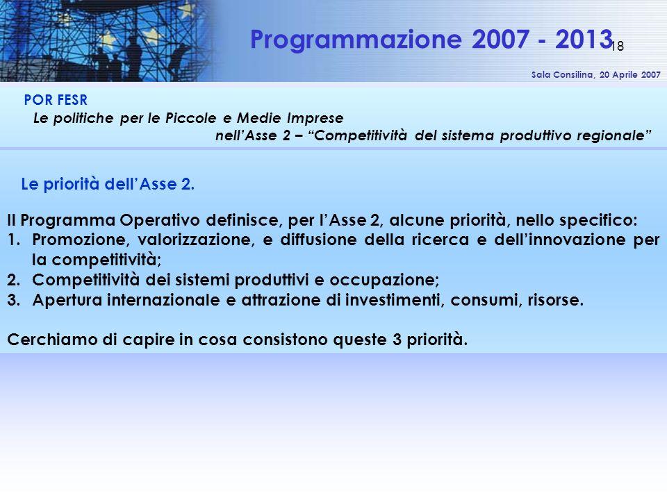 Sala Consilina, 20 Aprile 2007 18 POR FESR Le politiche per le Piccole e Medie Imprese nellAsse 2 – Competitività del sistema produttivo regionale Programmazione 2007 - 2013 Le priorità dellAsse 2.