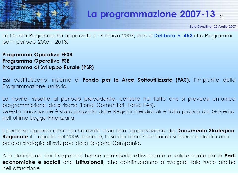 Sala Consilina, 20 Aprile 2007 2 La Giunta Regionale ha approvato il 16 marzo 2007, con la Delibera n. 453 i tre Programmi per il periodo 2007 – 2013: