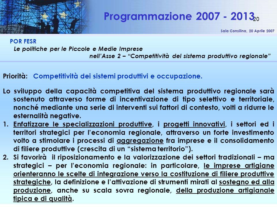 Sala Consilina, 20 Aprile 2007 20 POR FESR Le politiche per le Piccole e Medie Imprese nellAsse 2 – Competitività del sistema produttivo regionale Programmazione 2007 - 2013 Priorità: Competitività dei sistemi produttivi e occupazione.