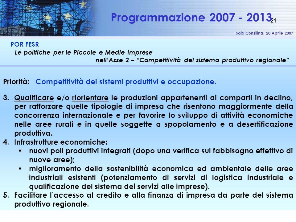 Sala Consilina, 20 Aprile 2007 21 POR FESR Le politiche per le Piccole e Medie Imprese nellAsse 2 – Competitività del sistema produttivo regionale Programmazione 2007 - 2013 Priorità: Competitività dei sistemi produttivi e occupazione.