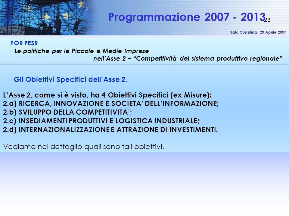 Sala Consilina, 20 Aprile 2007 23 POR FESR Le politiche per le Piccole e Medie Imprese nellAsse 2 – Competitività del sistema produttivo regionale Programmazione 2007 - 2013 Gli Obiettivi Specifici dellAsse 2.