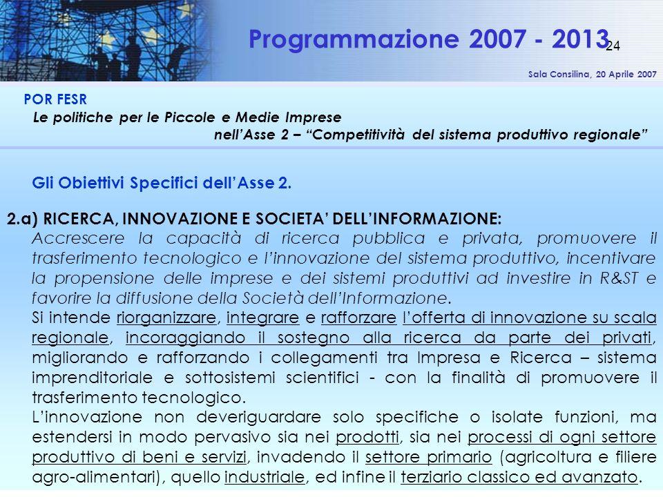 Sala Consilina, 20 Aprile 2007 24 POR FESR Le politiche per le Piccole e Medie Imprese nellAsse 2 – Competitività del sistema produttivo regionale Pro