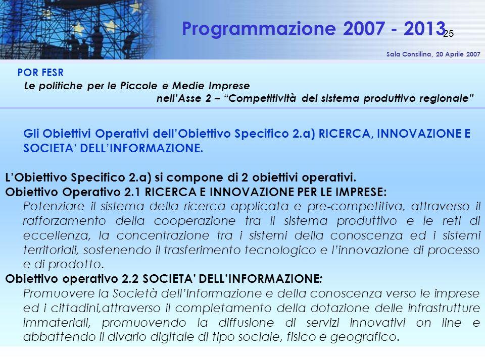 Sala Consilina, 20 Aprile 2007 25 POR FESR Le politiche per le Piccole e Medie Imprese nellAsse 2 – Competitività del sistema produttivo regionale Pro
