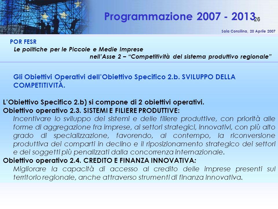 Sala Consilina, 20 Aprile 2007 26 POR FESR Le politiche per le Piccole e Medie Imprese nellAsse 2 – Competitività del sistema produttivo regionale Programmazione 2007 - 2013 Gli Obiettivi Operativi dellObiettivo Specifico 2.b.