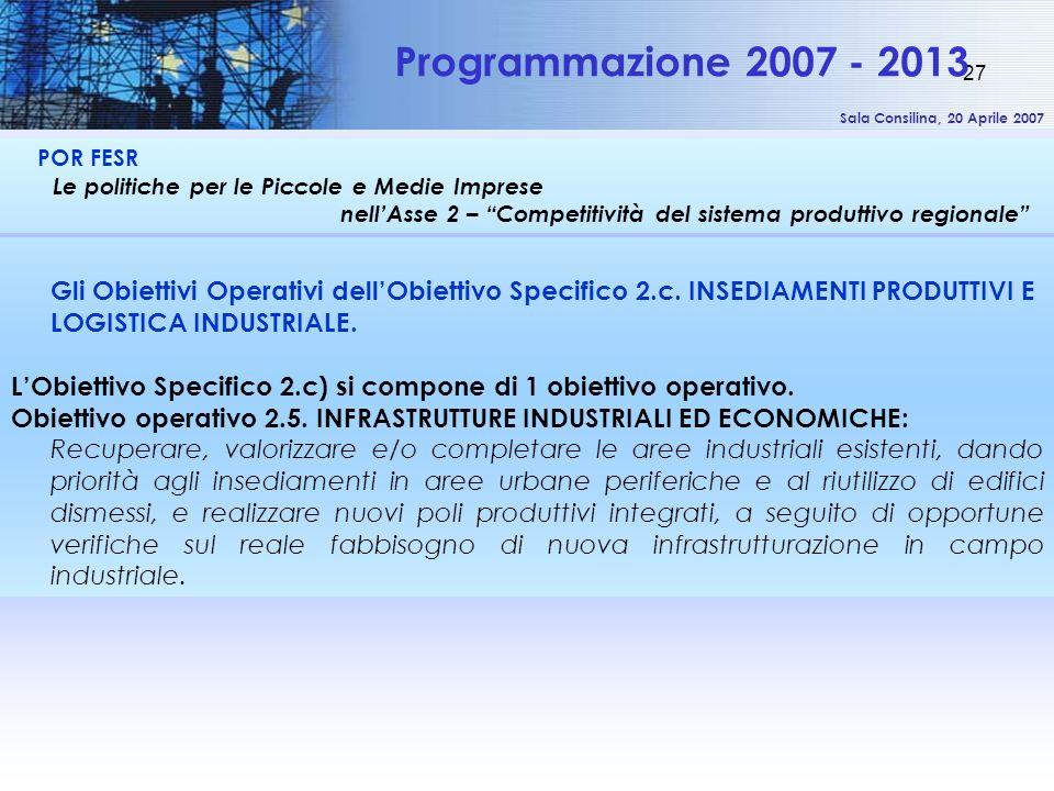 Sala Consilina, 20 Aprile 2007 27 POR FESR Le politiche per le Piccole e Medie Imprese nellAsse 2 – Competitività del sistema produttivo regionale Pro