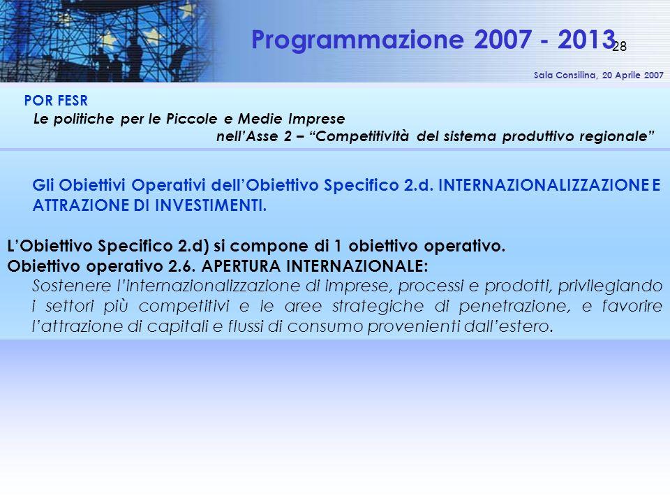 Sala Consilina, 20 Aprile 2007 28 POR FESR Le politiche per le Piccole e Medie Imprese nellAsse 2 – Competitività del sistema produttivo regionale Programmazione 2007 - 2013 Gli Obiettivi Operativi dellObiettivo Specifico 2.d.