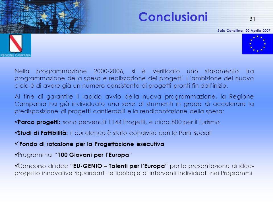 Sala Consilina, 20 Aprile 2007 31 Conclusioni Nella programmazione 2000-2006, si è verificato uno sfasamento tra programmazione della spesa e realizzazione dei progetti.