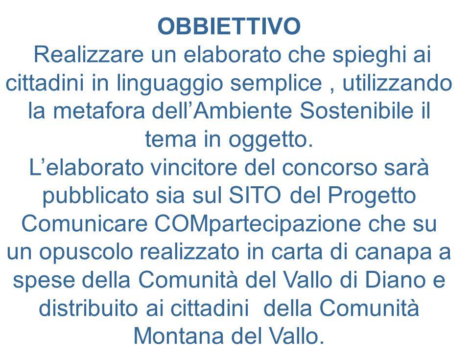 OBBIETTIVO Realizzare un elaborato che spieghi ai cittadini in linguaggio semplice, utilizzando la metafora dellAmbiente Sostenibile il tema in oggetto.
