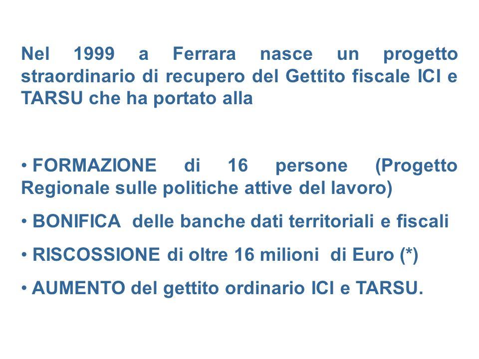 Nel 1999 a Ferrara nasce un progetto straordinario di recupero del Gettito fiscale ICI e TARSU che ha portato alla FORMAZIONE di 16 persone (Progetto