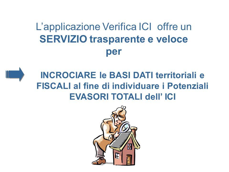 Lapplicazione Verifica ICI offre un SERVIZIO trasparente e veloce per INCROCIARE le BASI DATI territoriali e FISCALI al fine di individuare i Potenziali EVASORI TOTALI dell ICI