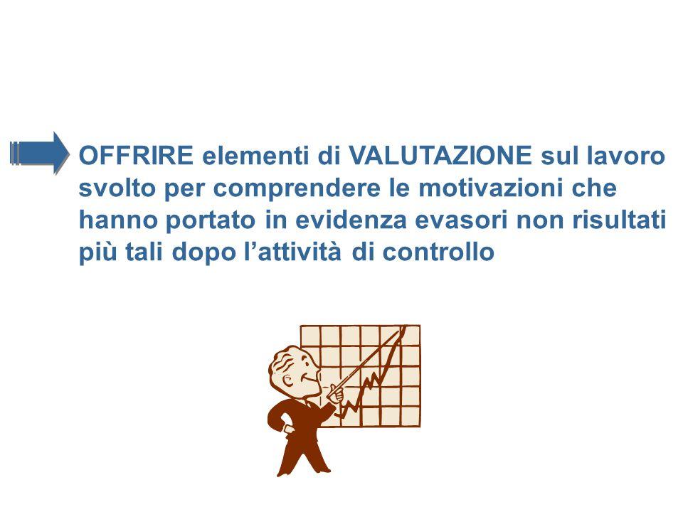 OFFRIRE elementi di VALUTAZIONE sul lavoro svolto per comprendere le motivazioni che hanno portato in evidenza evasori non risultati più tali dopo lat